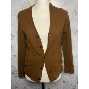 Frank & Oak 100% Wool Brown Cardigan Medium